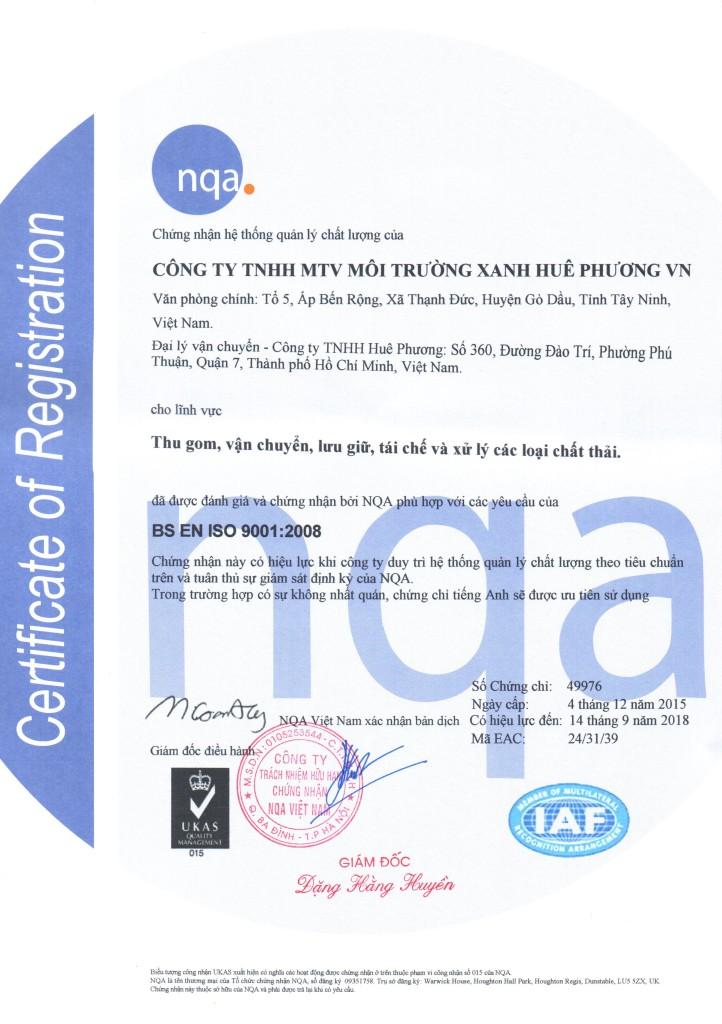 Giấy phép quản lý chất lượng ISO (1)